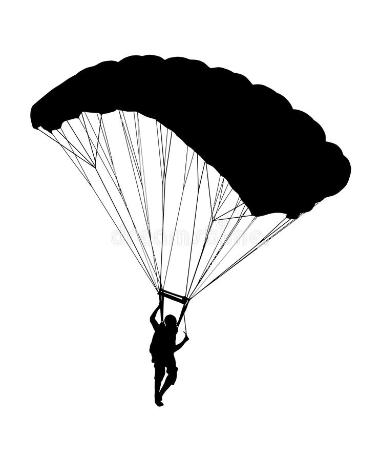 Free Side Profile Silhouette Of Sky Diver With Open Parachute Stock Photography - 95937402