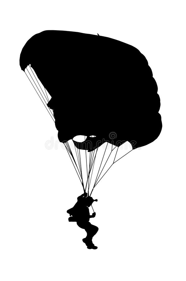 Free Side Profile Silhouette Of Sky Diver With Open Parachute Stock Image - 95937521