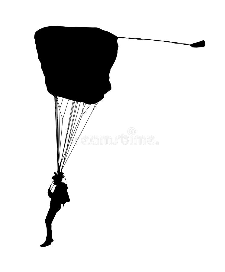 Free Side Profile Silhouette Of Sky Diver With Open Parachute Royalty Free Stock Photos - 95937818