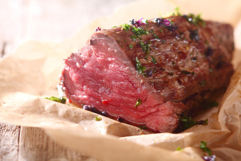Side Of Rare Roast Beef Fillet Stock Photo