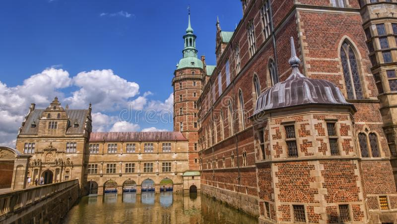 Side of Renaissance Frederiksborg Palace Castle in Hillerod, Denmark royalty free stock images