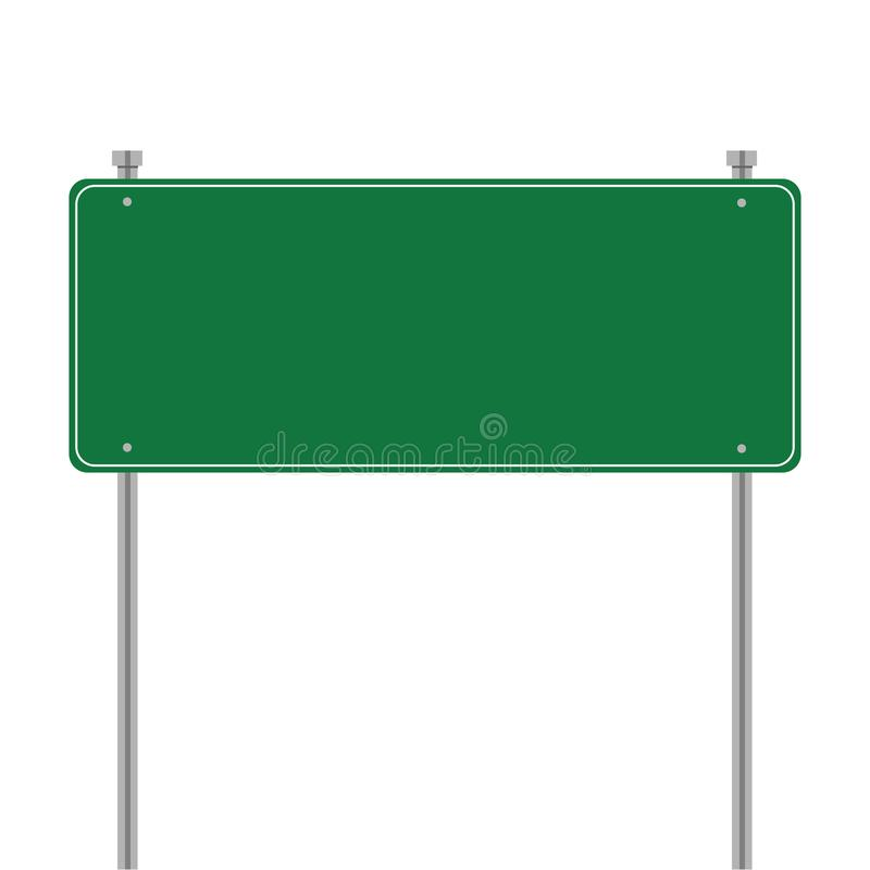 Side road blank green sign. Vector template for your design. Sign template with blank place for text. Illustration isolated on royalty free illustration