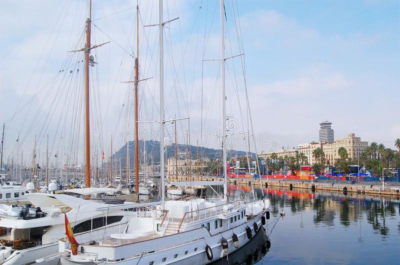 Boats in Barcelona`s harbour royalty free stock photo