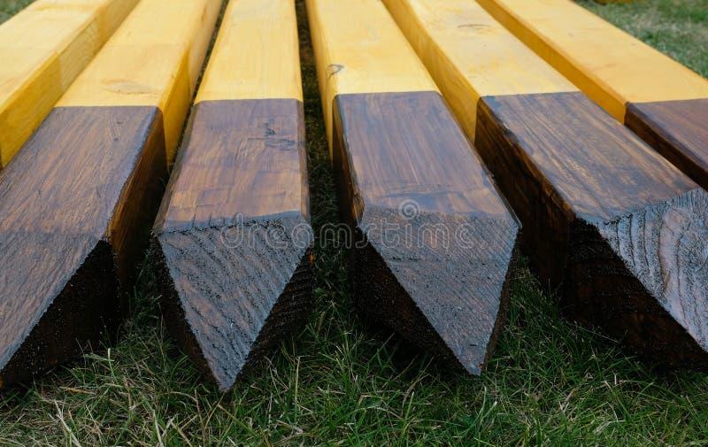 Wooden pillars stock photo