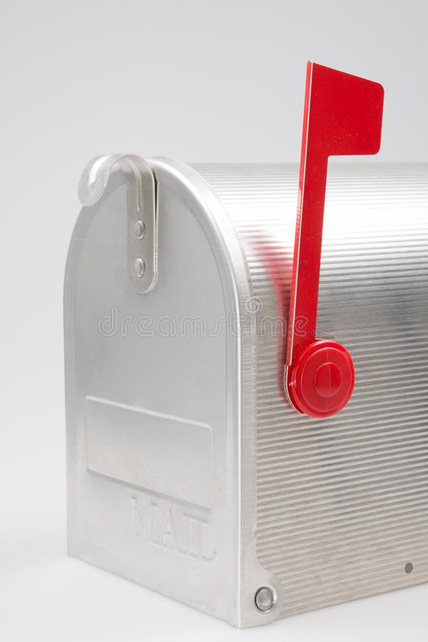 Side of silver door Mailbox us mail post stock photos