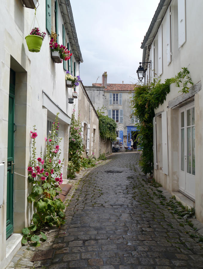 Side Street in St Martin de Re, Il de Re. Hollyhocks. Side Street in St Martin de Re, Il de Re. Flowers and salt shop with hanging baskets of flowers. Wet stock images