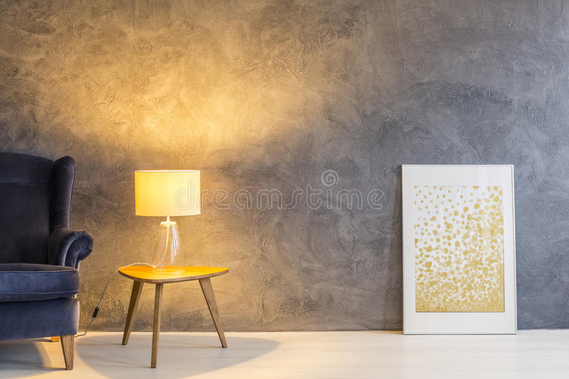 Side table and new lamp royalty free stock image