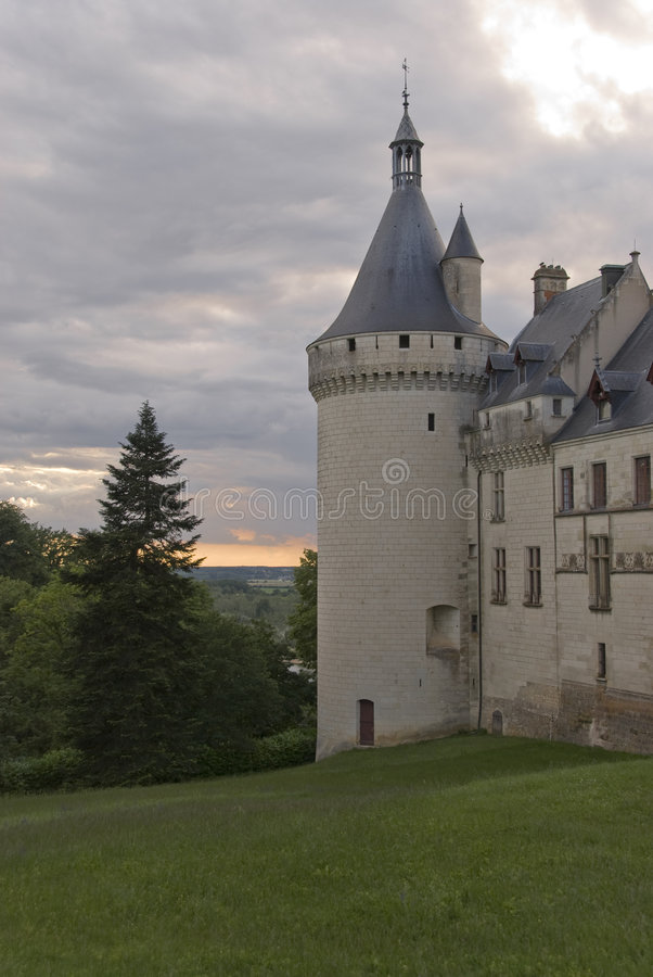 Side tower of a castle. Side tower of the castle Chaumont-sur-Loire. Loire Valley, France stock photo