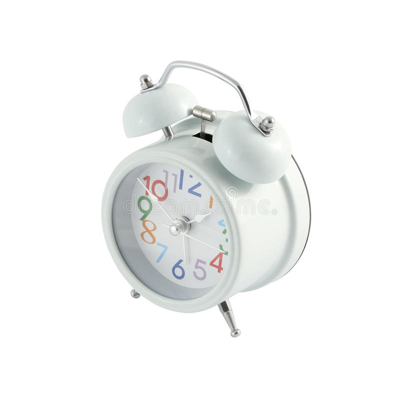 Side up white alarm clock color number. Isolated from background royalty free stock images