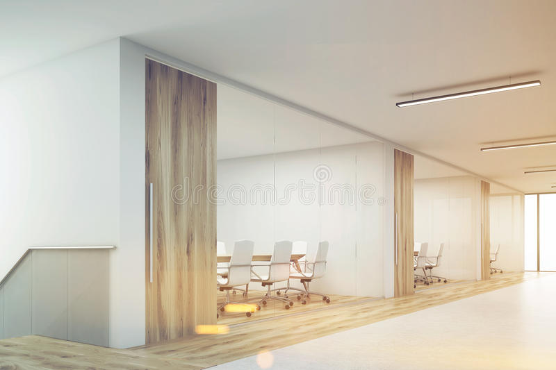 Side veiw of office with blank wall and row of meeting rooms, to. Side view of office corridor with large blank wall and row of conference rooms with wooden wall vector illustration