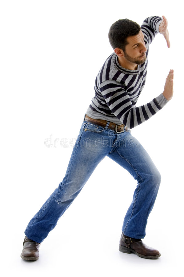 Side view of active male dancing royalty free stock photography