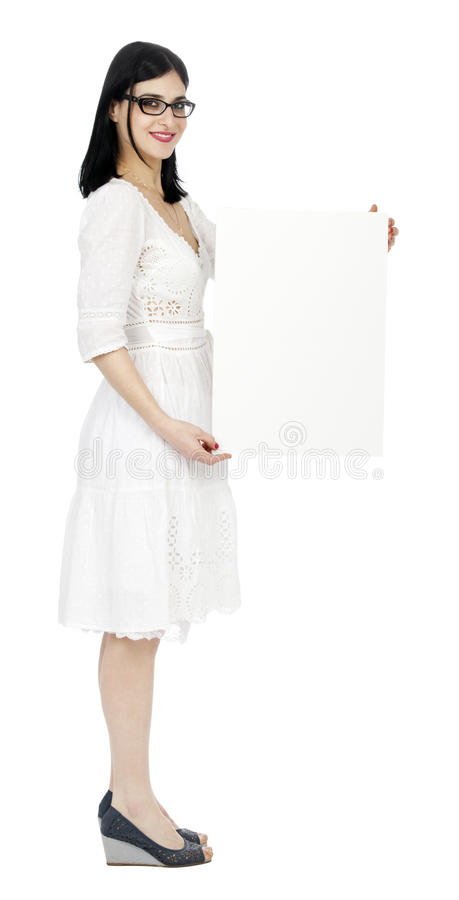 Summer Dress Woman Holding Sign Royalty Free Stock Image