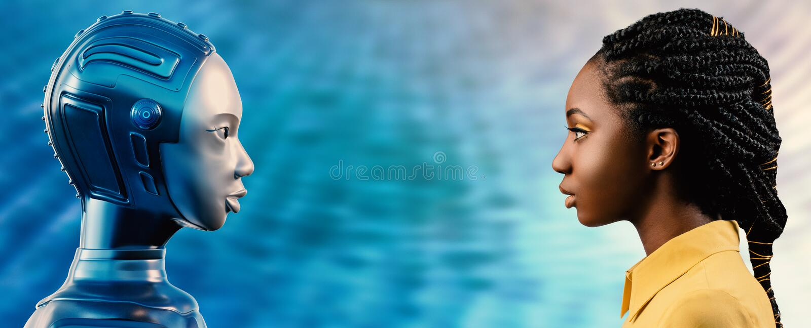 Side view of African woman looking at robot avatar royalty free illustration