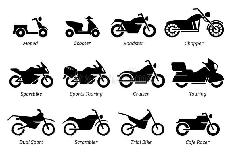 List of different type of motorcycle, bike, and motorbike icon set. royalty free illustration