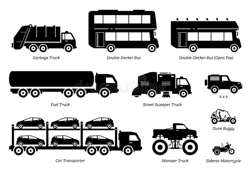 List of special purpose vehicles icon set. royalty free illustration