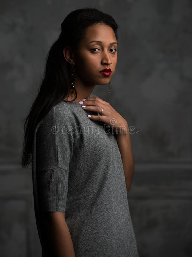Elegant ethnic woman in grey clothes royalty free stock photography