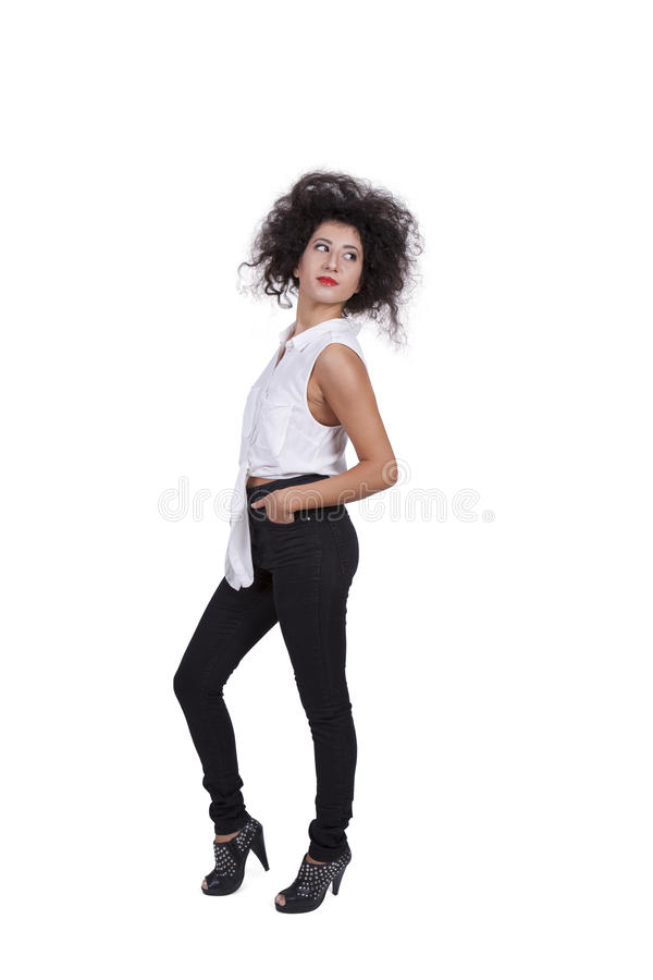 Side view of an attractive young woman royalty free stock photography