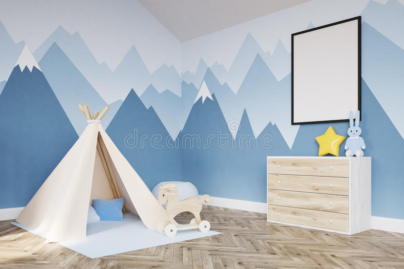 Side view of baby`s room. Crib and poster. Side baby room drawer. 3d rendering. Mock up royalty free illustration