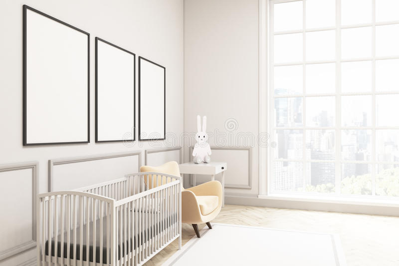 Side view of a baby`s room with a hare and three vertical poster. Side view of a baby`s room interior with a cradle, an armchair and a bedside table. There are stock illustration