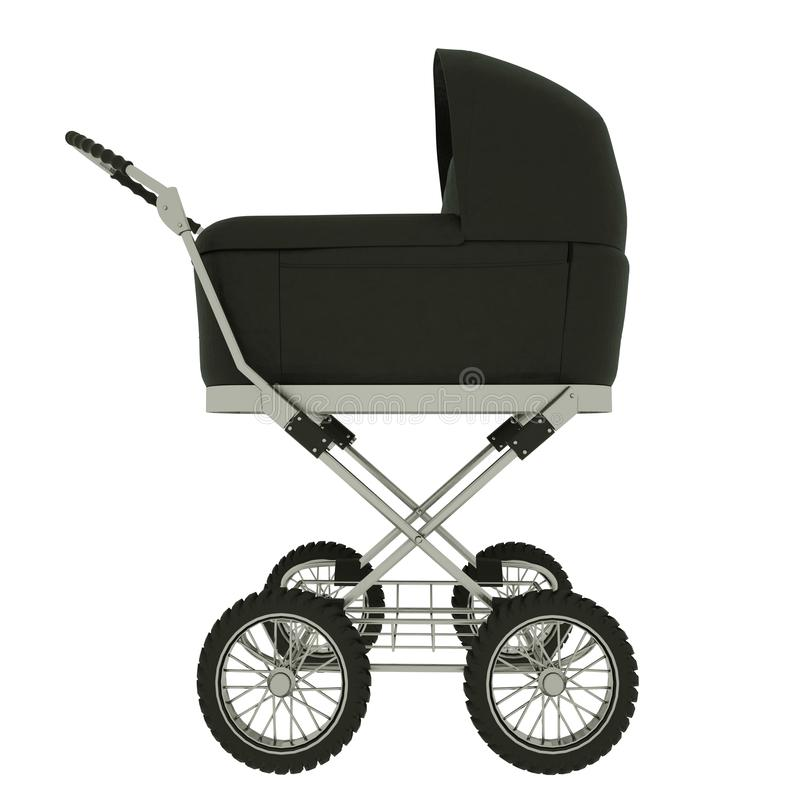Side view of baby stroller isolated on white background. 3d illustration royalty free illustration