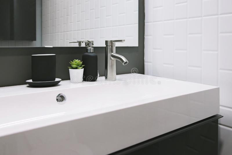 Bathroom interior with sink and faucet. royalty free stock photos