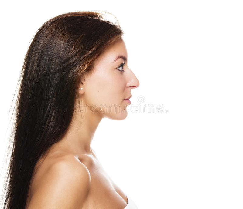 Side view of a beautiful woman royalty free stock photos