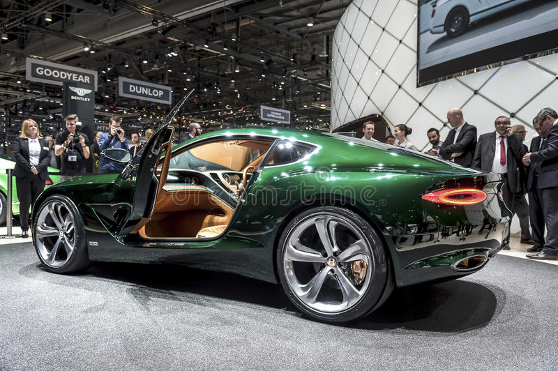Side view Bentley EXP 10 concept car. Side view of green Bentley EXP 10 concept car on display at car show in Geneva, Switzerland stock photography
