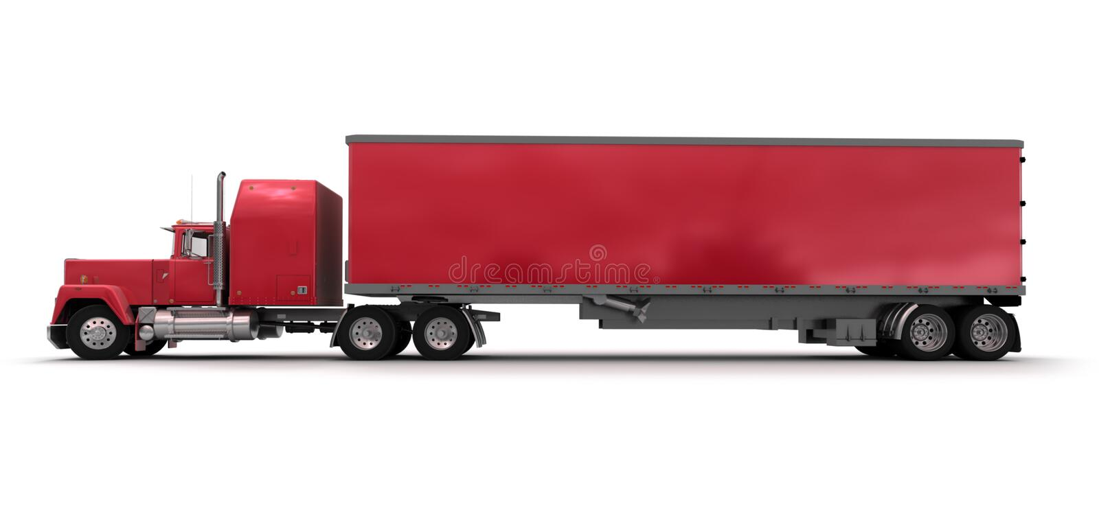 Side view of a big red trailer truck royalty free illustration
