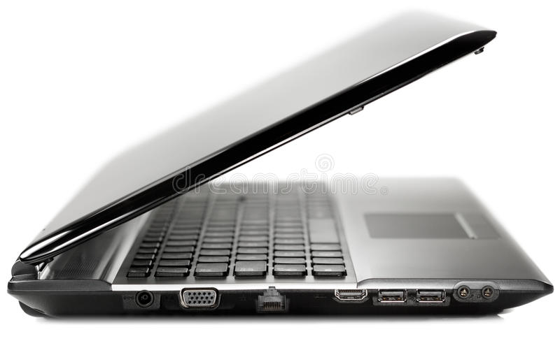 Download Side View Of A Black Modern Laptop On A White Back Stock Image - Image: 26760563