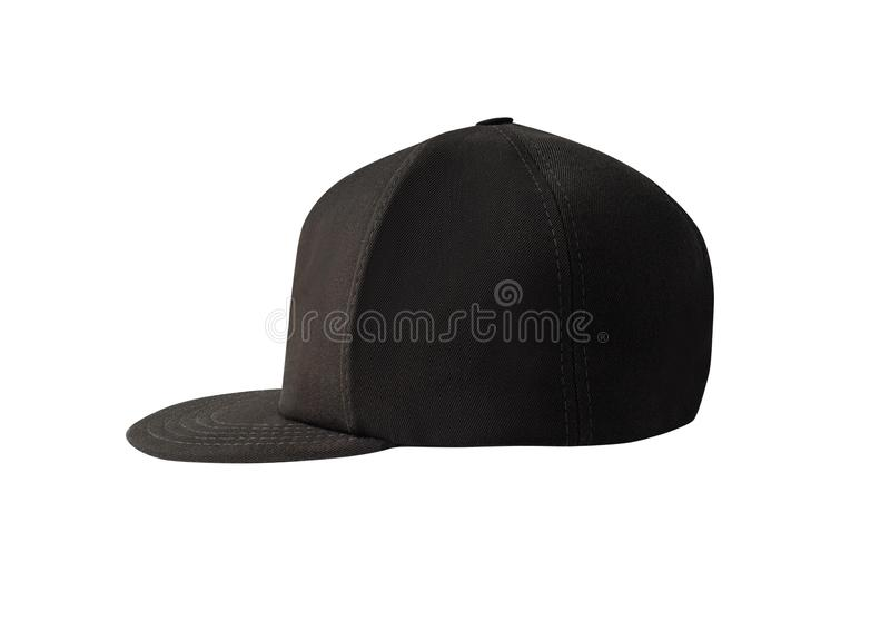 Side view of black snapback cap. Isolated on white background stock images