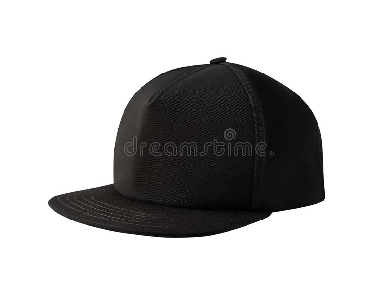 Side view of black snapback cap. Isolated on white background. Blank baseball cap or trucker hat stock image