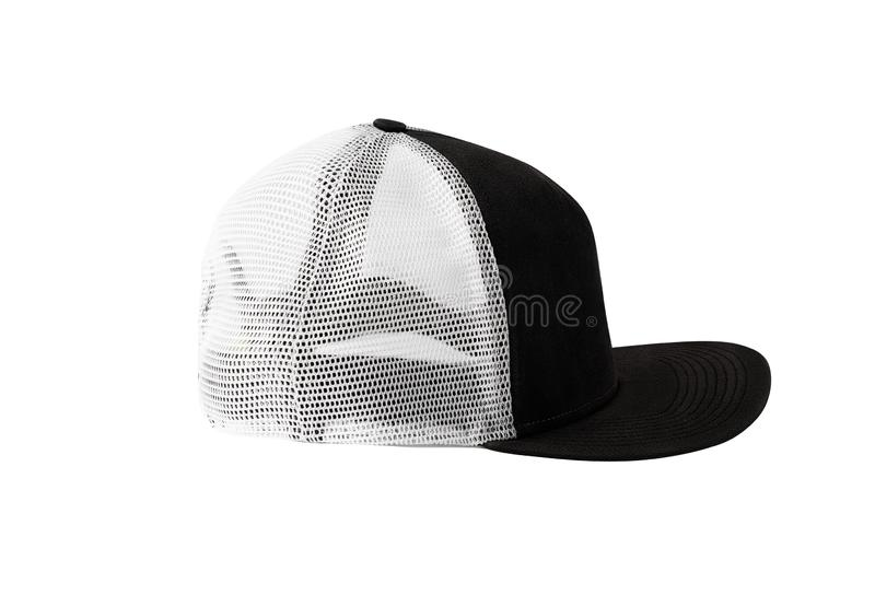 Side view of black snapback cap with mesh. Isolated on white background. Blank baseball cap or trucker hat stock photo