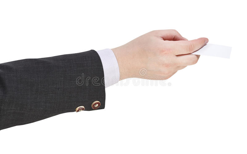 Side view of blank business card in male hand. Isolated on white background royalty free stock images
