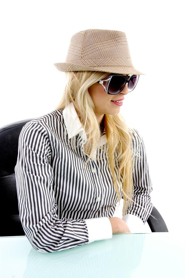 Download Side view of blonde female stock image. Image of professional - 8243983