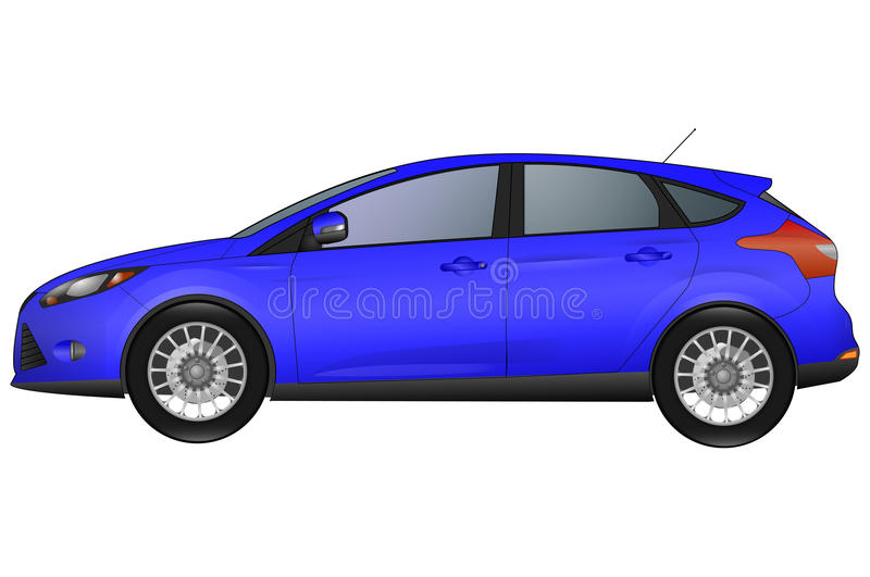 Side view of blue car. Isolated on white background stock illustration