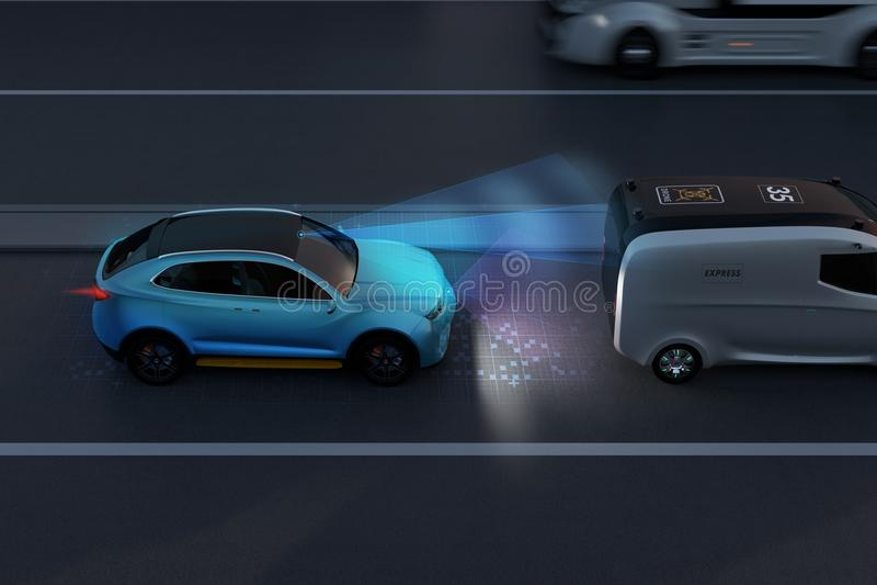 Side view of blue SUV emergency braking to avoid car crash. Automatic Emergency Braking Emergency brake system concept. Night scene. 3D rendering image vector illustration