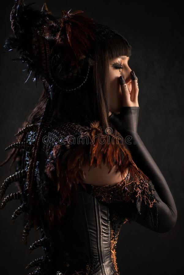 Side view of brunette woman in gothic steampunk gown. Posing at camera stock photography