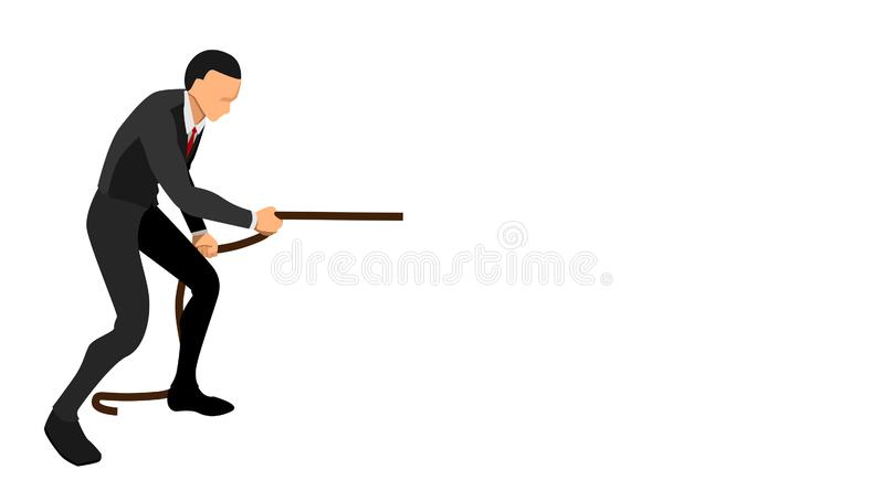 Side view of a businessman pulling a rope with his hand. business background template vector file design vector illustration