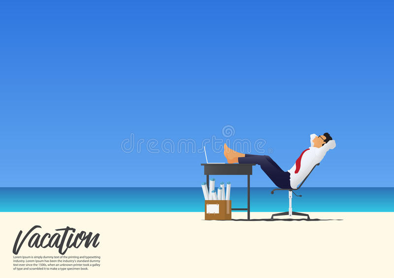 Side view of businessman relaxing with feet up on office desk on white sand beach while on his vacation. Blue sky background. royalty free illustration
