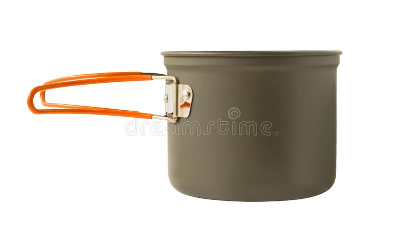 Side view of camping pot with folding silicone handle stock photos