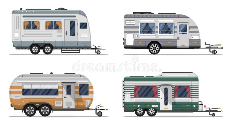 Side view camping trailers isolated on white stock illustration