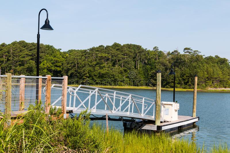 Side View of Canoe and Kayak Launch Ramp in Virginia Beach royalty free stock image