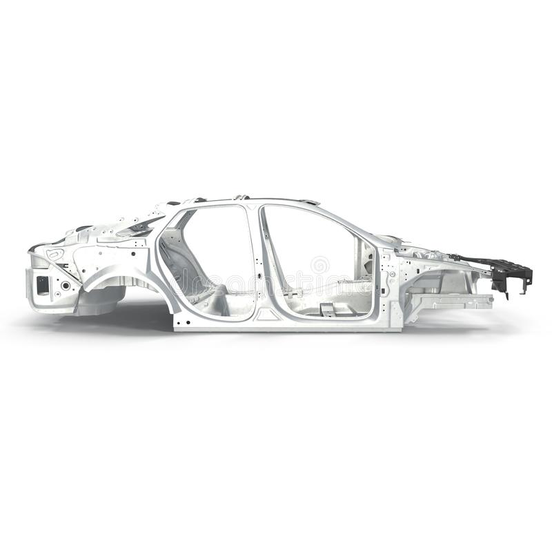 Side View Car Frame Without Chassis On White. 3D Illustration Stock ...