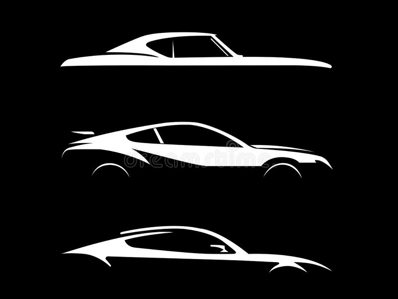 Side view of cars illustration on black background. Showing in white gloss vector illustration