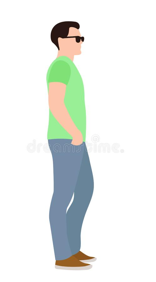 Side view of a casual young man standing with his hands on his hips and looking away royalty free illustration
