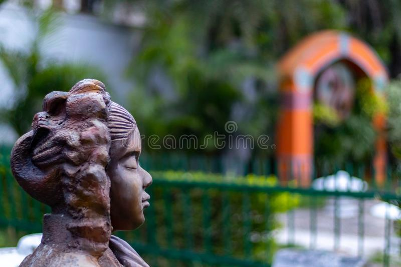 Side view of a changxi statue who is the lunar goddess in chinese mythology. Buddhism and enlightment concept stock image
