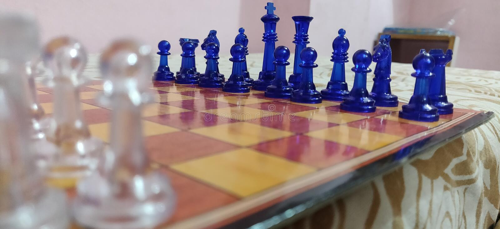Side view of chess stock photography