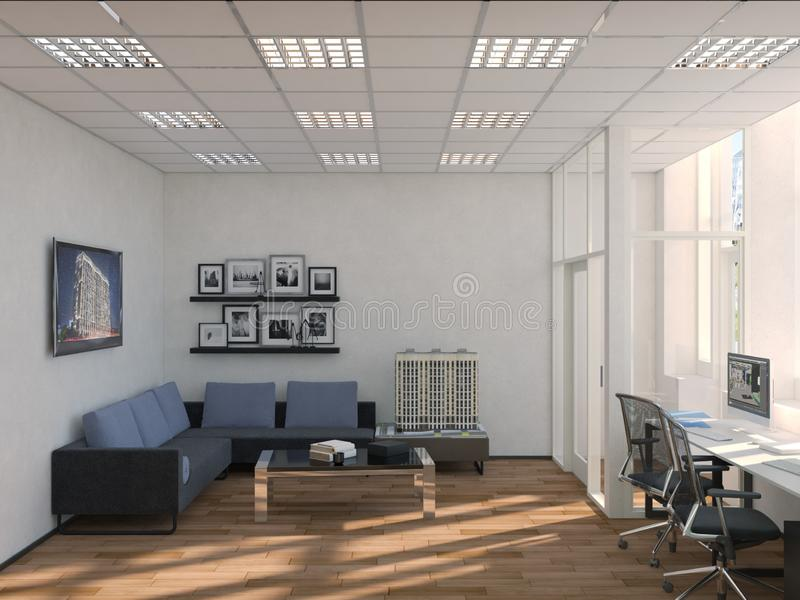 Side view of contemporary conference room with city view and daylight. 3D Rendering.  royalty free illustration