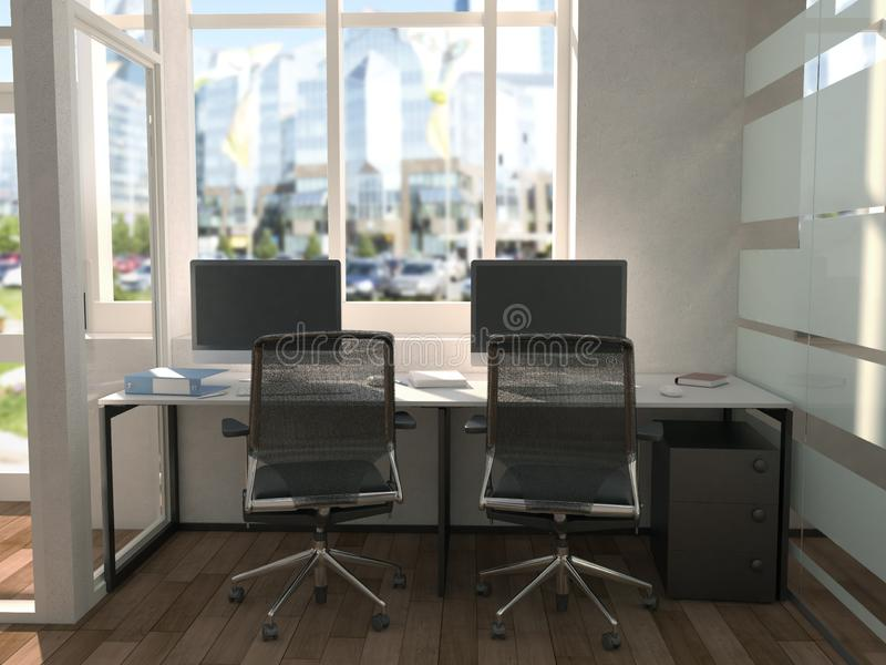 Side view of contemporary conference room with city view and daylight. 3D Rendering.  stock illustration