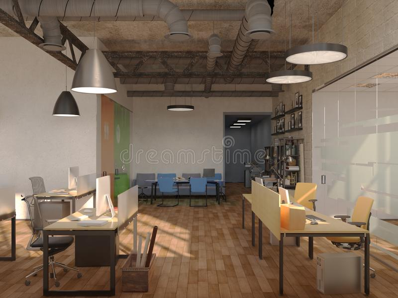 Side view of contemporary conference room with city view and daylight. 3D Rendering.  vector illustration